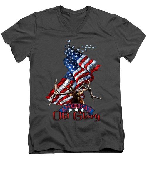 Elk Old Glory Men's V-Neck T-Shirt