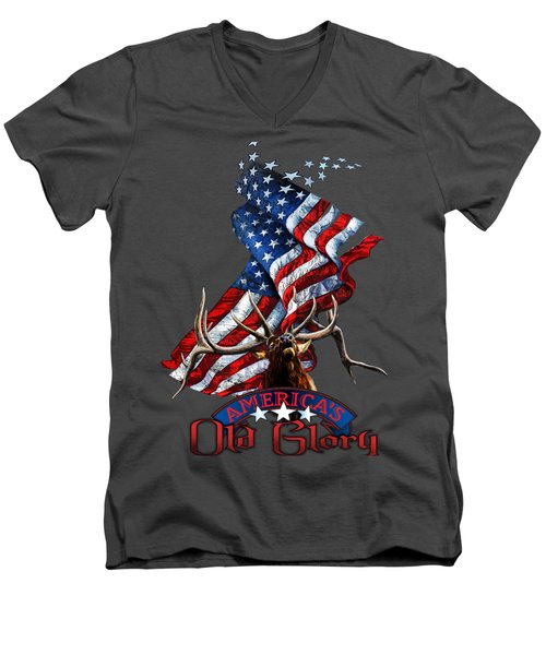 Elk Old Glory Men's V-Neck T-Shirt