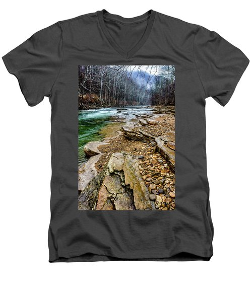 Men's V-Neck T-Shirt featuring the photograph Elk River In The Rain by Thomas R Fletcher