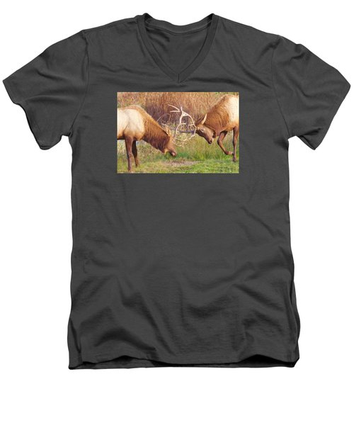 Men's V-Neck T-Shirt featuring the photograph Elk Tussle Too by Todd Kreuter