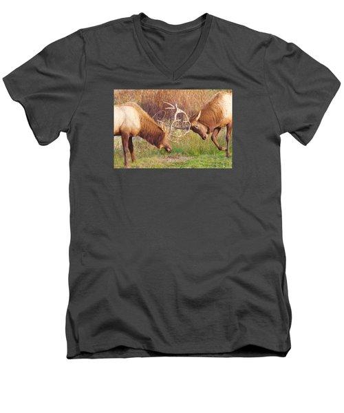 Elk Tussle Too Men's V-Neck T-Shirt by Todd Kreuter