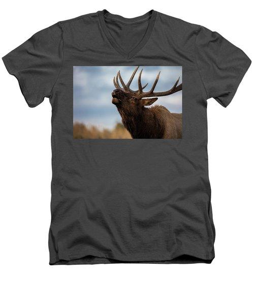 Elk's Screem Men's V-Neck T-Shirt by Edgars Erglis