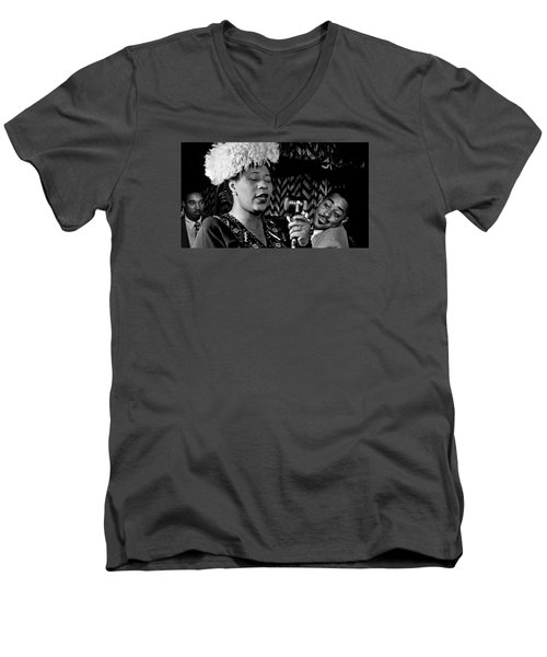 Ella Fitzgerald Dizzy Gillespie And Ray Brown William Gottlieb Photo Nyc 1947-2015 Men's V-Neck T-Shirt by David Lee Guss