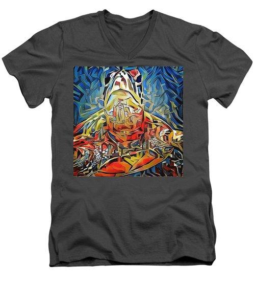 Men's V-Neck T-Shirt featuring the digital art Ellis The Turtle by Erika Swartzkopf