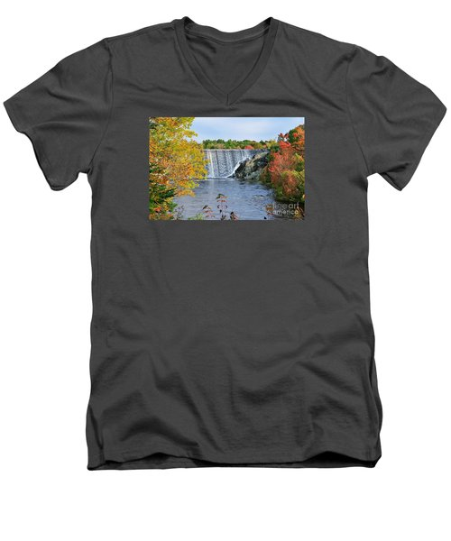 Men's V-Neck T-Shirt featuring the photograph Ellsworth, Maine Dam by Debbie Stahre