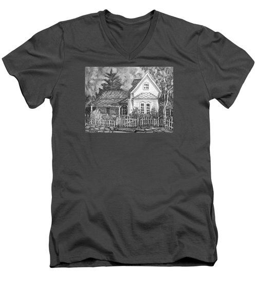 Men's V-Neck T-Shirt featuring the painting Elma's House In Bw by Gretchen Allen