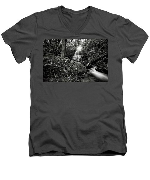 Elora Falls In Black And White Men's V-Neck T-Shirt