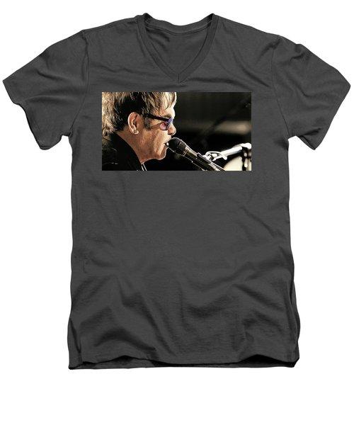 Elton John At The Mic Men's V-Neck T-Shirt by Elaine Plesser