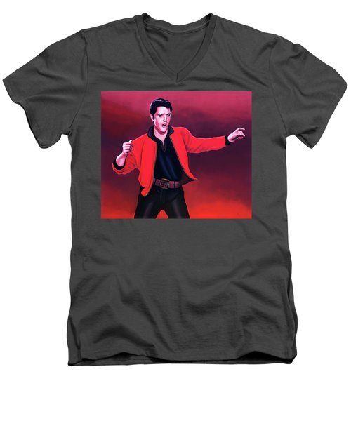Elvis Presley 4 Painting Men's V-Neck T-Shirt by Paul Meijering