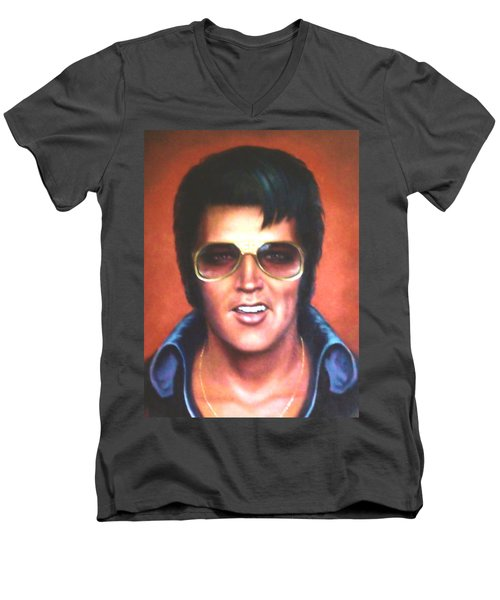 Elvis Presley Men's V-Neck T-Shirt by Loxi Sibley