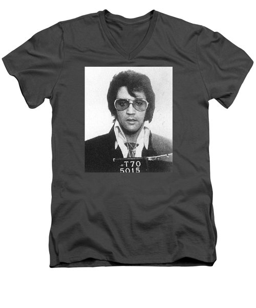 Elvis Presley Mug Shot Vertical Men's V-Neck T-Shirt by Tony Rubino