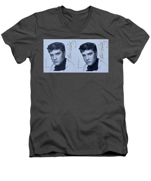 Elvis Stamps Men's V-Neck T-Shirt by Caroline Stella