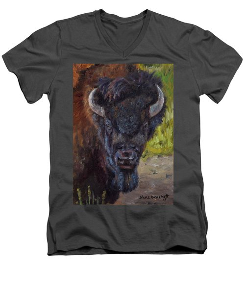 Elvis The Bison Men's V-Neck T-Shirt
