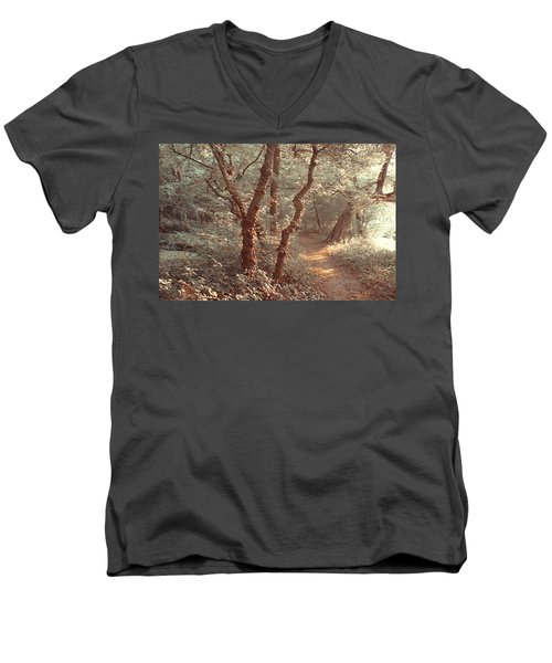 Men's V-Neck T-Shirt featuring the photograph Elvish Forest. Nature In Alien Skin by Jenny Rainbow