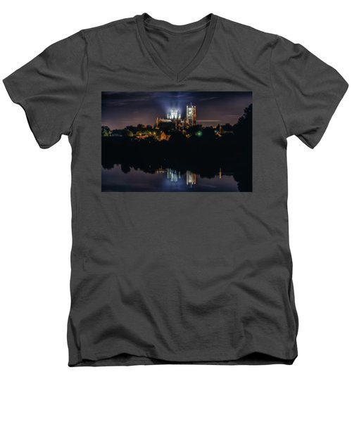 Ely Cathedral By Night Men's V-Neck T-Shirt