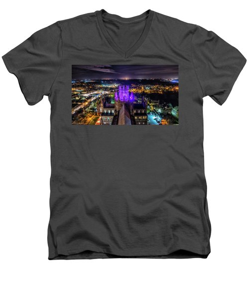 Ely Cathedral In Purple Men's V-Neck T-Shirt