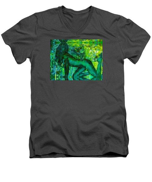Emerald Green Sacred Sex Graffiti Men's V-Neck T-Shirt by Deprise Brescia