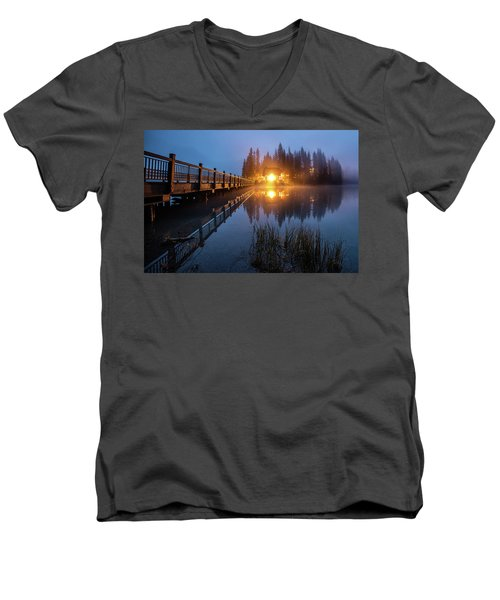 Men's V-Neck T-Shirt featuring the photograph Emerald Lake Lodge In The Twilight Fog by Pierre Leclerc Photography