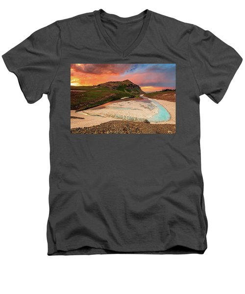 Emerald Lake Sunset Men's V-Neck T-Shirt