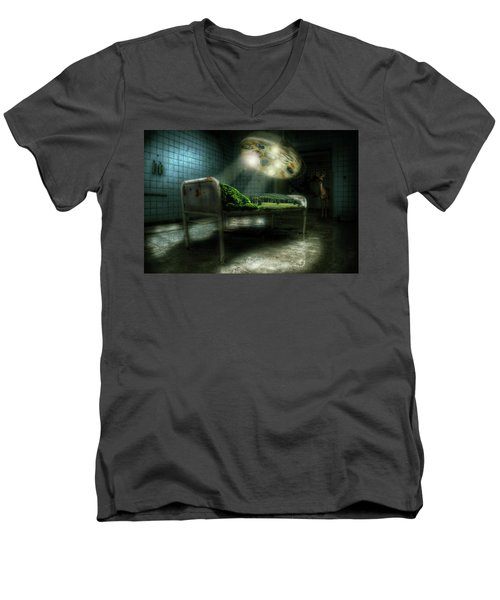 Men's V-Neck T-Shirt featuring the digital art Emergency Nature  by Nathan Wright