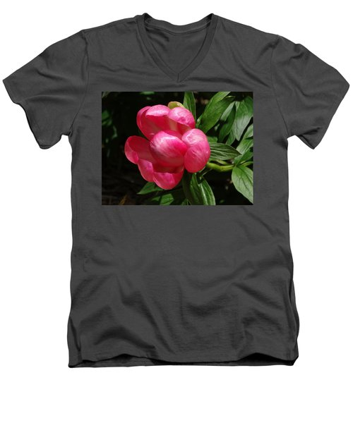 Emerging Peony Bloom Men's V-Neck T-Shirt by Rebecca Overton
