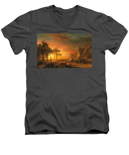 Men's V-Neck T-Shirt featuring the photograph Emigrants Crossing The Plains - 1867 by Albert Bierstadt