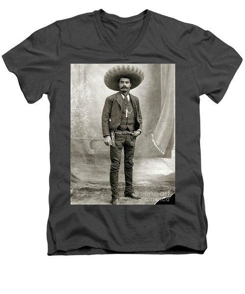 Men's V-Neck T-Shirt featuring the photograph Emiliano Zapata by Roberto Prusso