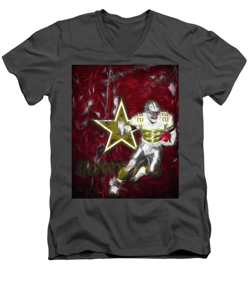 Men's V-Neck T-Shirt featuring the photograph Emmitt Smith Nfl Dallas Cowboys Gold Digital Painting 22 by David Haskett