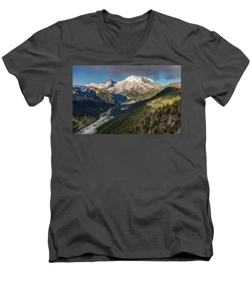 Men's V-Neck T-Shirt featuring the photograph Emmons Vista Of Mount Rainier by Pierre Leclerc Photography