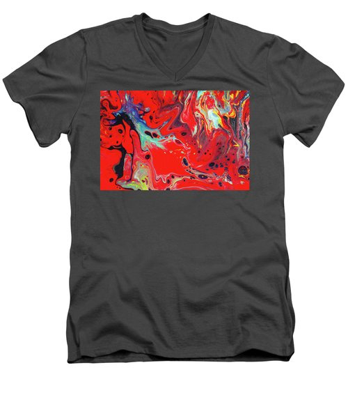 Emotional Soul - Red Abstract Canvas Painting Men's V-Neck T-Shirt by Gordan P Junior