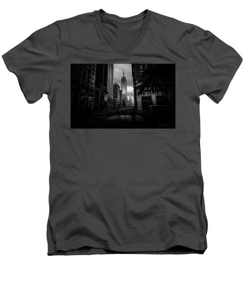 Men's V-Neck T-Shirt featuring the photograph Empire State Building Bw by Marvin Spates