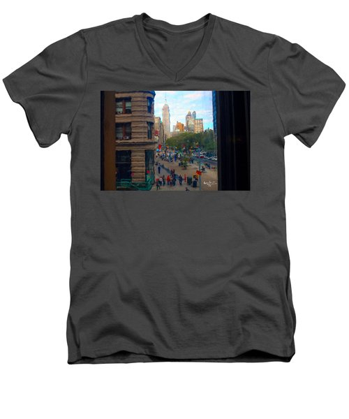 Men's V-Neck T-Shirt featuring the photograph Empire State Building - Crackled View 2 by Madeline Ellis