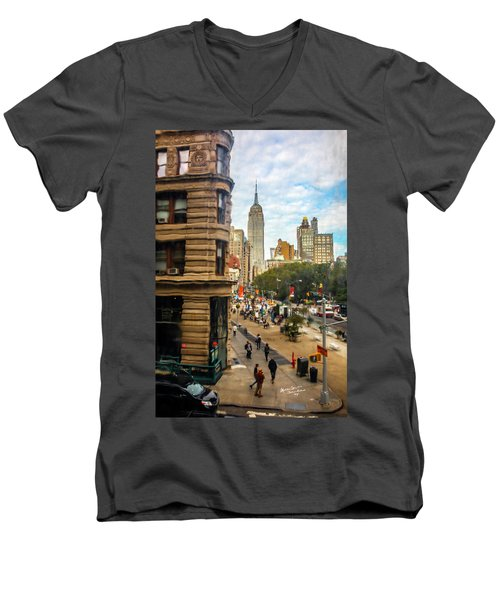 Men's V-Neck T-Shirt featuring the photograph Empire State Building - Crackled View 3 by Madeline Ellis