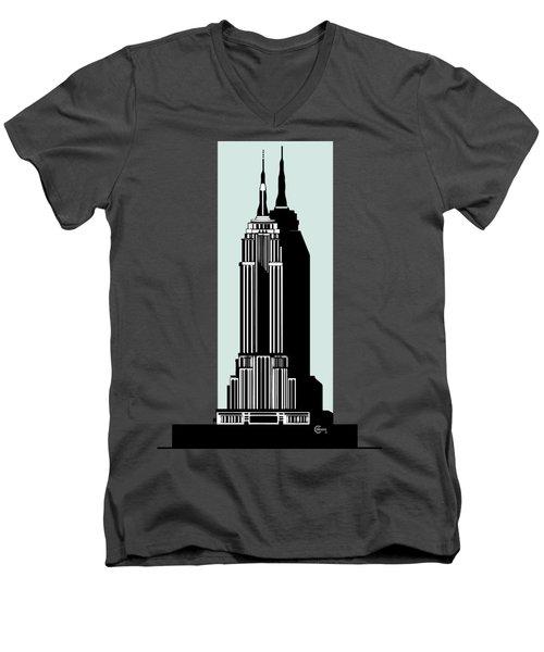Empire State Building Deco Minimal Men's V-Neck T-Shirt