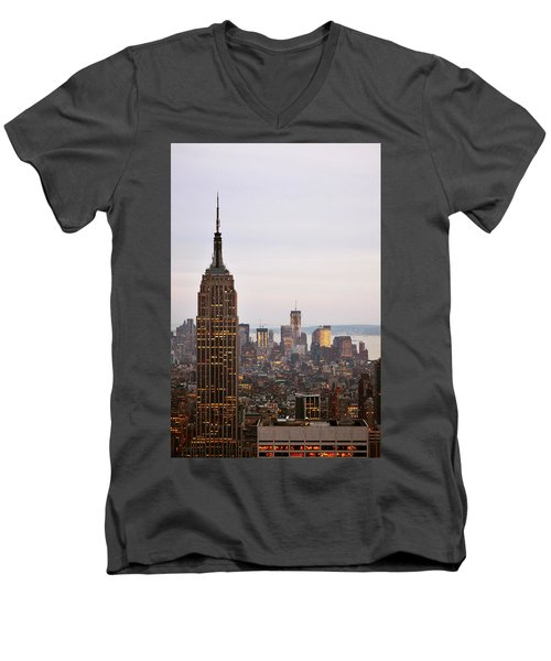 Men's V-Neck T-Shirt featuring the photograph Empire State Building No.2 by Zawhaus Photography