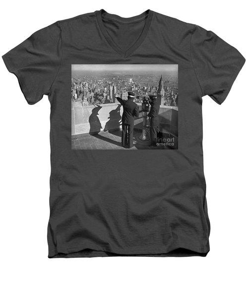 Men's V-Neck T-Shirt featuring the photograph Empire State Lookout 1947 by Martin Konopacki Restoration