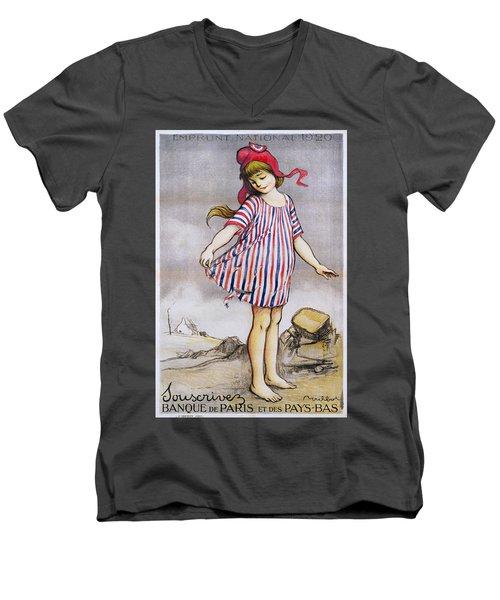 Emprunt National Propaganda Poster, 1920 Men's V-Neck T-Shirt