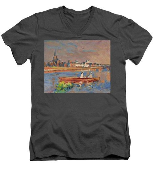 En Bateau De Renoir Sur La Meuse A Maestricht Men's V-Neck T-Shirt by Nop Briex