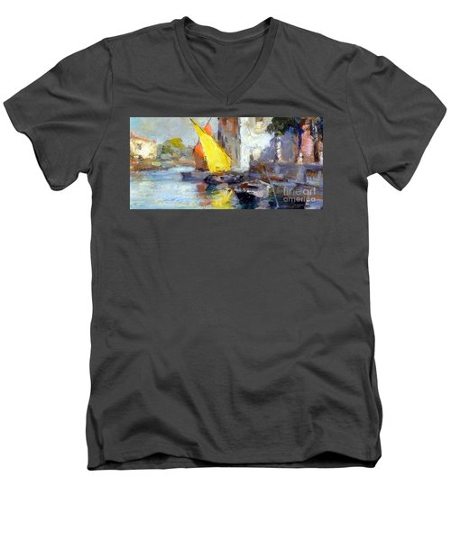 Men's V-Neck T-Shirt featuring the painting En Plein Air In Venice by Rosario Piazza
