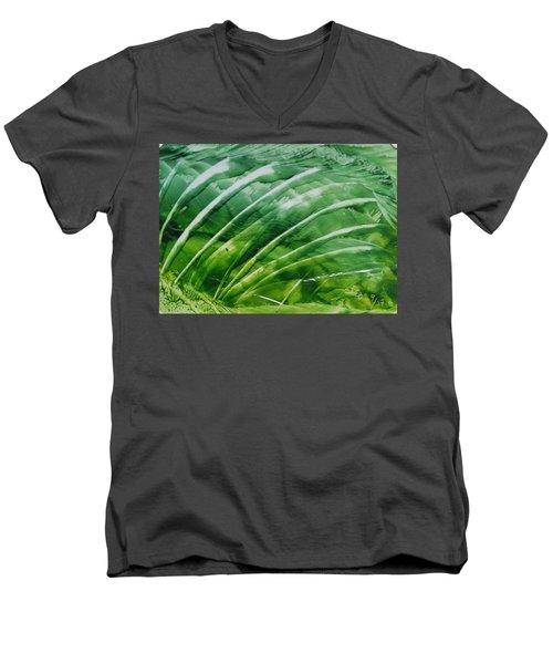 Encaustic Abstract Green Fan Foliage Men's V-Neck T-Shirt