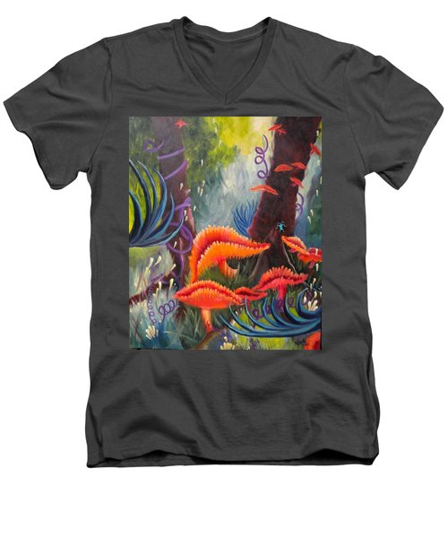 Men's V-Neck T-Shirt featuring the painting Enchanted Forest by Renate Nadi Wesley