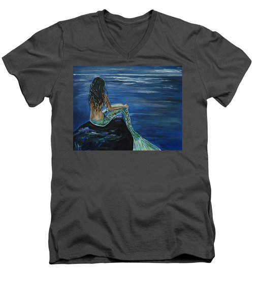 Enchanted Mermaid Men's V-Neck T-Shirt by Leslie Allen