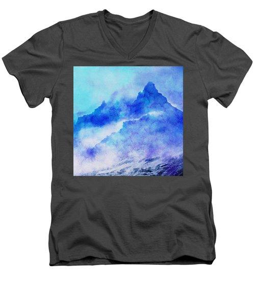 Men's V-Neck T-Shirt featuring the digital art Enchanted Scenery #4 by Klara Acel