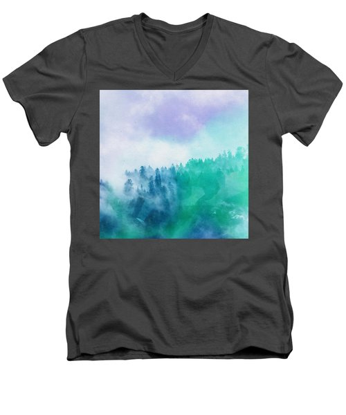 Men's V-Neck T-Shirt featuring the photograph Enchanted Scenery by Klara Acel