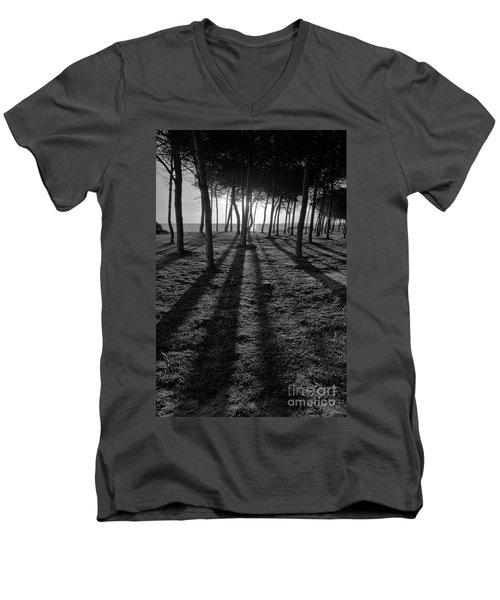 Enchanted Sunset In Monochrome Men's V-Neck T-Shirt by Angelo DeVal