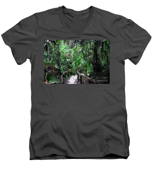 Men's V-Neck T-Shirt featuring the photograph Enchanted Walk by Gary Wonning