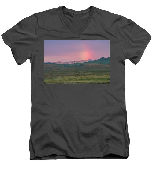 Men's V-Neck T-Shirt featuring the photograph End Of Rainbow by Hitendra SINKAR