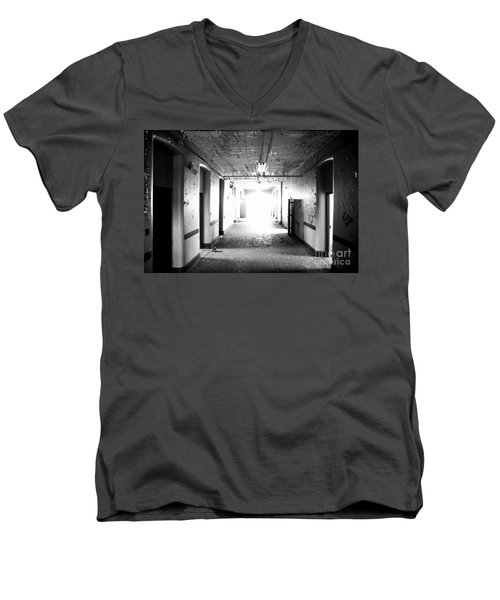 Men's V-Neck T-Shirt featuring the photograph End Of The Hall by Randall Cogle