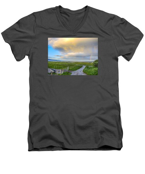 End Of The Road, Brora, Scotland Men's V-Neck T-Shirt by Sally Ross