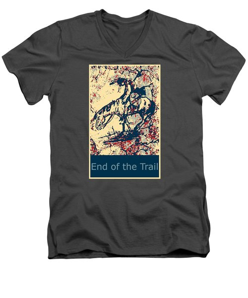 Men's V-Neck T-Shirt featuring the painting End Of The Trail 4 by Ayasha Loya